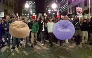 protestorswithbeanbagchair