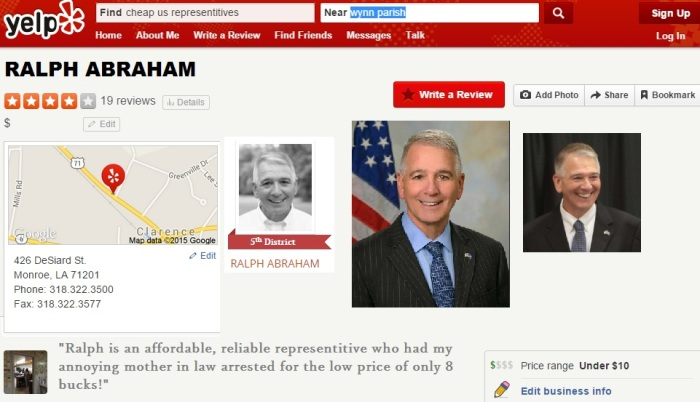 Representative Ralph Abraham is currently the cheapest politician rated on Yelp